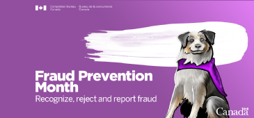 FRAUD PREVENTION MONTH - SUPER DOG - RECOGNIZE,  REJECT, REPORT FRAUD